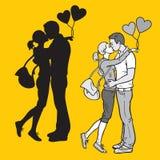 恋人亲吻的夫妇 图库摄影