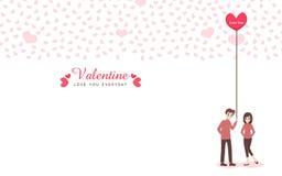 恋人动画片逗人喜爱的夫妇为爱华伦泰` s天 免版税图库摄影
