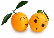 恋人动画片,创造性的海报新橙色表示  免版税库存照片