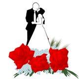 恋人和花花束  皇族释放例证