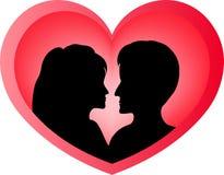 恋人在心脏 库存例证