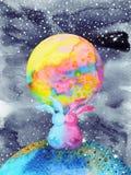 恋人夫妇兔子甜在宇宙水彩绘画 免版税库存照片