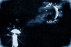恋人月光 向量例证