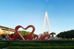 恋人淡水厅` s桥梁在台北,台湾 免版税图库摄影