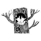 恋人灰鼠 大美丽的树 库存照片