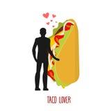 恋人炸玉米饼 对墨西哥食物的爱 人和快餐 恋人holdi 库存例证
