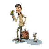 恋人男孩和他的小狗 免版税库存图片