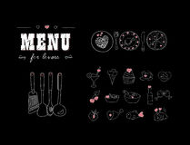 恋人的菜单 与心脏的食物 日凹道愉快的例证s华伦泰 乱画装饰元素 拉长的现有量 黑板 免版税库存照片