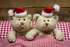 恋人:两个玩具熊坐与帽子的圣诞节在是 免版税库存照片
