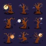 恐怖万圣夜树传染媒介可怕字符树梢在鬼的森林例证套的林业木头或罪恶橡木 向量例证