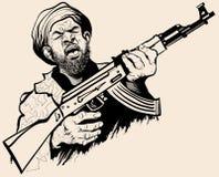 恐怖分子的讽刺画 免版税库存照片