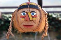 恐怖和吓唬的印地安人面具从椰子的 库存照片