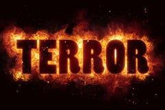 恐怖恐怖主义火烧伤火焰文本是爆炸 库存照片