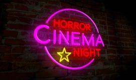 恐怖戏院夜氖 免版税图库摄影