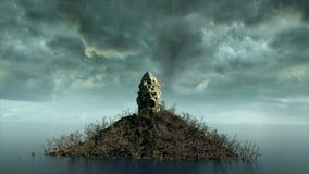 恐怖海岛在海洋 恶魔般叫喊的头骨 日历概念日期冷面万圣节愉快的藏品微型收割机说大镰刀身分 地狱 库存例证