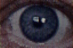 恐怖特写镜头电视眼睛 库存图片