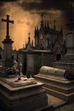 恐怖的墓地 免版税库存图片