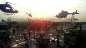 恐怖蛇神人群走 默示录视图,概念 现实4K动画 向量例证