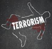 恐怖主义尸体白垩概述谋杀杀害了伤亡受害者 库存例证