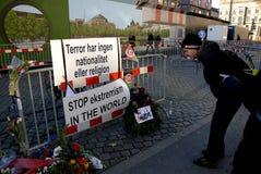 巴黎恐怖ATTACKED_FRENC MEBASSY在哥本哈根 免版税图库摄影
