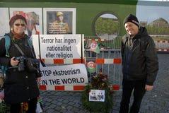 巴黎恐怖ATTACKED_FRENC MEBASSY在哥本哈根 免版税库存照片