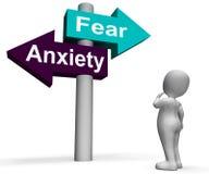恐惧忧虑路标显示恐惧和恐慌 向量例证