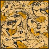 恐龙动画片汇集、五颜六色的套幻想逗人喜爱的妖怪,动物和史前字符梁龙 皇族释放例证