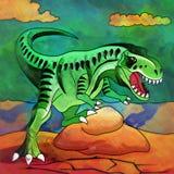 恐龙在栖所 恐龙的例证 免版税库存照片