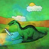 恐龙在栖所 Baryonyx的例证 库存照片