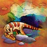 恐龙在栖所 Heterodontosaur的例证 免版税库存照片