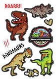 恐龙字符设计贴纸dicut 皇族释放例证