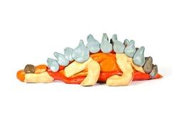 恐龙彩色塑泥雕塑 免版税库存图片
