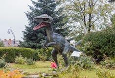 恐龙的图在自然历史博物馆在一个雨天 锡比乌市在罗马尼亚 免版税库存图片
