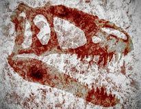恐龙的血淋淋的头骨 免版税库存照片