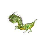 恐龙色的手拉的动画片象 免版税库存照片
