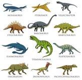 恐龙设置了,暴龙rex,三角恐龙,重龙,梁龙,肉食鸟,三角恐龙,剑龙,骨骼 皇族释放例证