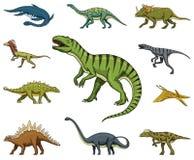 恐龙设置了,暴龙rex,三角恐龙,重龙,梁龙,肉食鸟,三角恐龙,剑龙,骨骼 向量例证