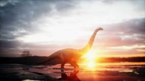 恐龙 史前期间,岩石风景 Wonderfull日出 3d翻译 库存例证