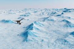 恐龙 史前雪风景,与恐龙的冰谷 北极看法 库存照片