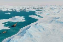 恐龙 史前雪风景,与恐龙的冰谷 北极看法 免版税库存图片