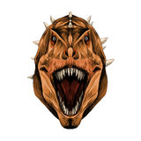 恐龙头开放嘴剪影向量图形 免版税库存照片