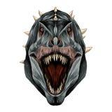 恐龙头开放嘴剪影向量图形 库存图片
