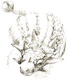 恐龙 恐龙图画铅笔剪影 库存图片