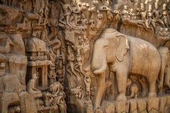 恒河,马马拉普拉姆,泰米尔纳德邦,印度的下降 免版税库存照片