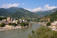 恒河, Rishikesh,印度。 免版税库存照片