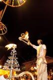 恒河Puja仪式,瓦腊纳西印度 免版税库存图片