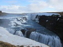 恢复从冬天的古佛斯瀑布瀑布 免版税图库摄影
