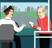 养恤金 退休的人在公共汽车上到达到司机的一张票 皇族释放例证