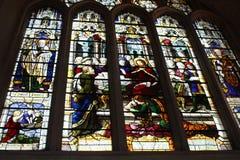 在巴恩修道院内部的彩色玻璃  免版税库存照片