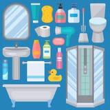 巴恩在现代卫生间内部卫生学的阵雨平的样式五颜六色的剪贴美术例证做的设备象 库存照片